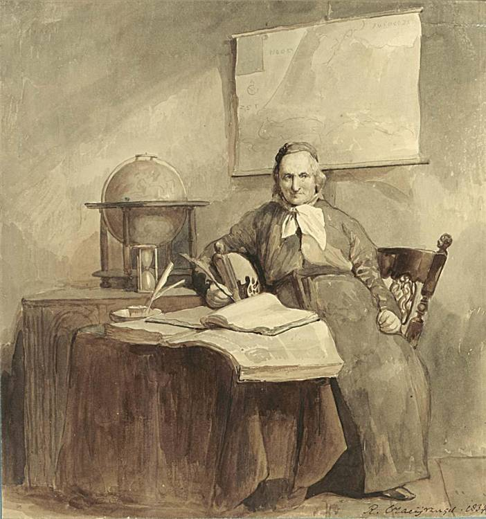 REINIER CRAEYVANGER UTRECHT 1812 - 1880 AMSTERDAM A PORTRAIT OF A GEOGRAPHER IN HIS STUDY