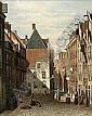 OENE ROMKES DE JONGH DUTCH 1812-1896 A STREET SCENE IN A DUTCH TOWN, Oene Romkes