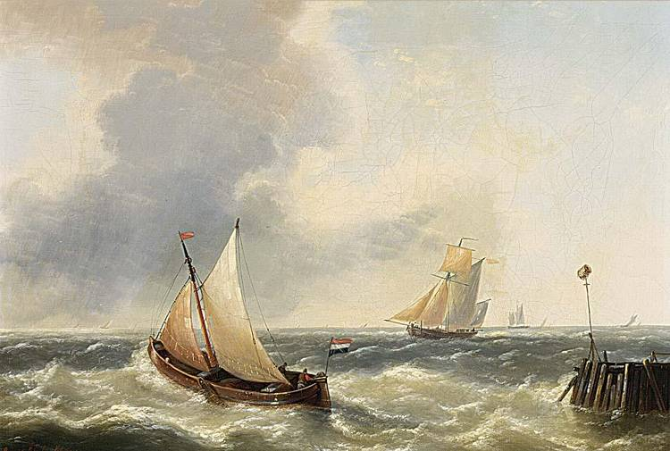 LOUIS VERBOECKHOVEN BELGIAN 1802-1889 SAILINGVESSELS IN A STIFF BREEZE, A PAIR