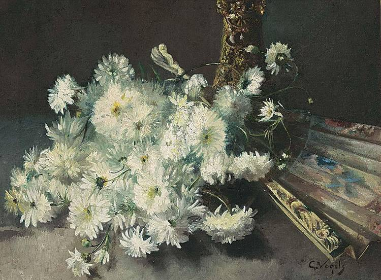 GUILLAUME VOGELS BELGIAN 1836-1896 A STILL LIFE WITH CHRYSANTHEMUMS AND A FAN