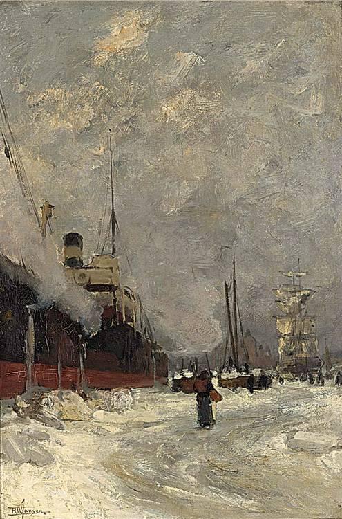HENDRIK WILLEBRORD JANSEN DUTCH 1855-1908 INGEVROREN, AMSTERDAM