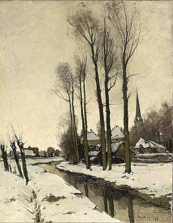 PAUL BODIFÉE DUTCH 1866-1938 A VIEW OF A VILLAGE IN WINTER