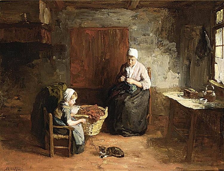 ALBERT NEUHUYS DUTCH 1844-1914 A COTTAGE INTERIOR WITH MOTHER AND CHILD