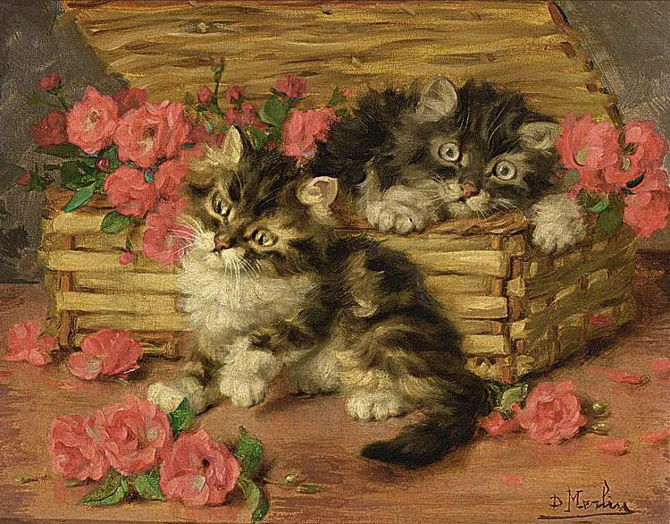 DANIEL MERLIN FRENCH 1861-1933 PLAYFUL KITTENS