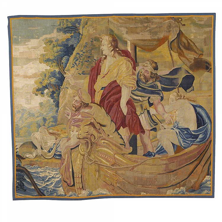 A FRENCH MYTHOLOGICAL LITERARY TAPESTRY FRAGMENT, PARIS WORKSHOP, FROM THE STORY OF RINALDO AND ARMIDA, AFTER SIMON VOUET, FROM TORQUATO TASSO MID 17TH CENTURY