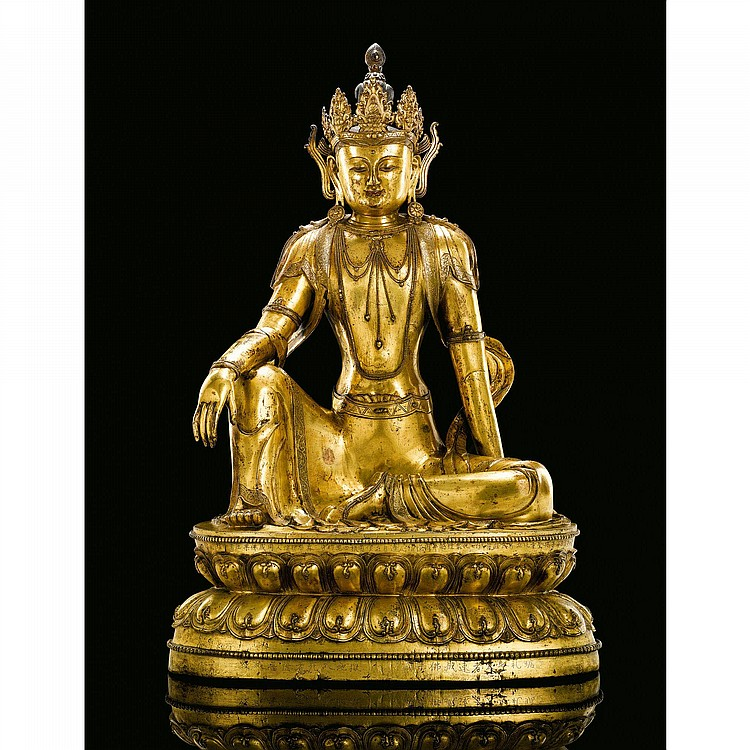 A MAGNIFICENT AND VERY RARE INSCRIBED GILT-BRONZE FIGURE OF AVALOKITESVARA MING DYNASTY, XUANDE PERIOD, DATED TO 1435