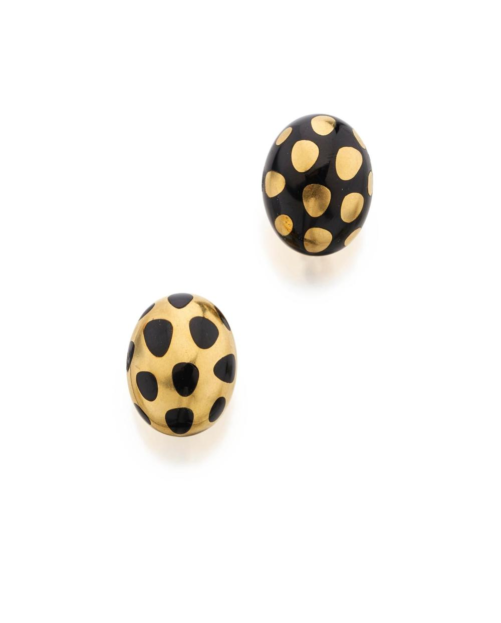 PAIR OF GOLD AND BLACK JADE 'POSITIVE NEGATIVE' EARCLIPS, ANGELA CUMMINGS FOR TIFFANY & CO.