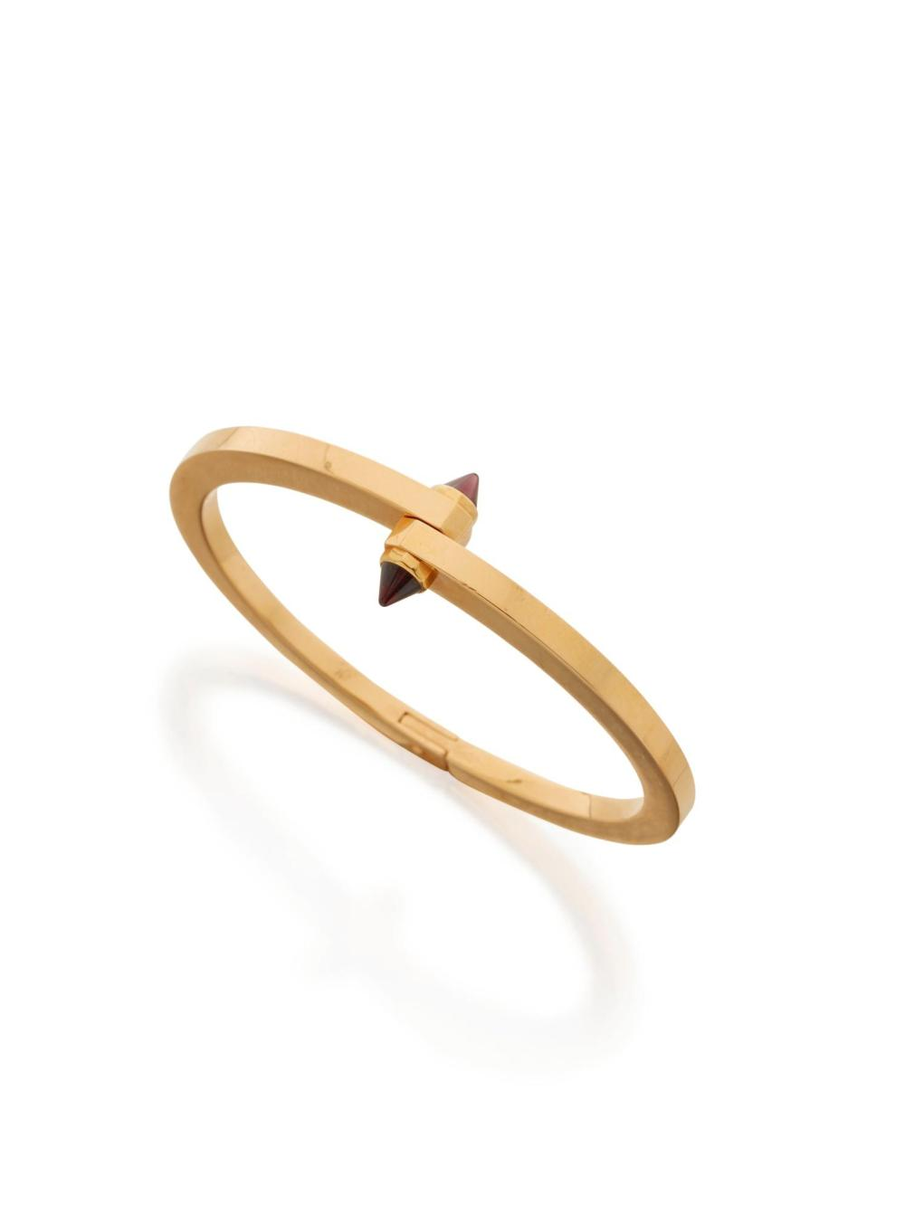 GOLD AND RHODOLITE GARNET 'MENOTTE' BANGLE-BRACELET, CARTIER