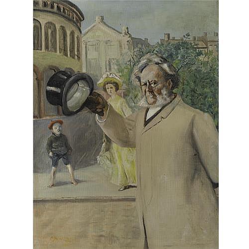 f - Christian Krohg Norwegian 1852-1925 , Ibsen på Karl Johan ved Stortinget (Ibsen by the Parliament Building on Karl Johan Street)