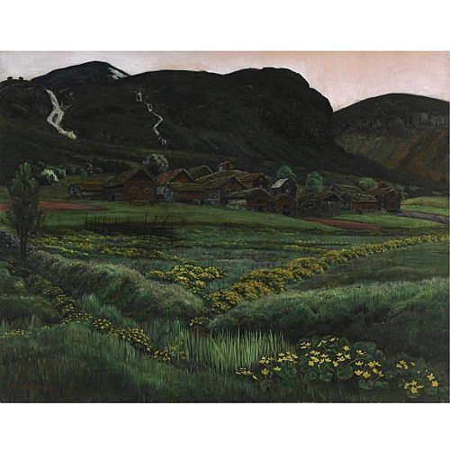f - Nikolai Astrup Norwegian 1880-1928 , Soleinatt, Jølster (White Night, Buttercups at Jølster)