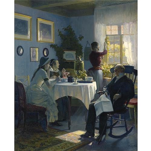 f - Carl Thomsen Danish 1847-1912 , En Søndag Eftermiddag (A Sunday Afternoon)