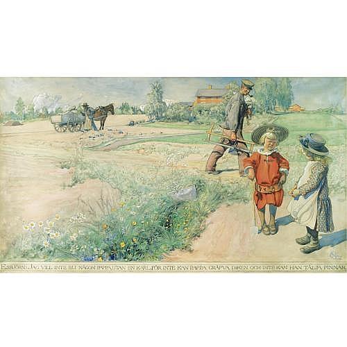 Carl Larsson Swedish 1853-1919 , Esbjörn och Bondflickan (Esbjörn and the Farmer's Girl)