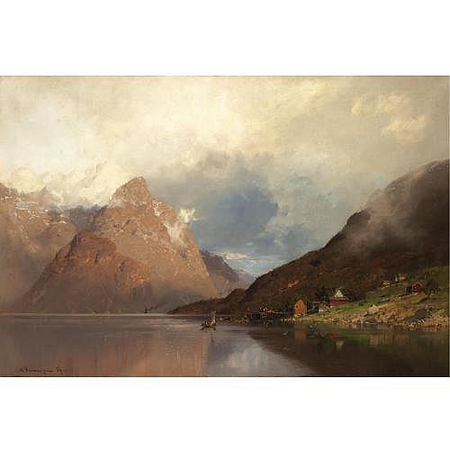 Georg Anton Rasmussen Norwegian 1842-1914 , Brygge ved Fjorden (Pier at the Fjord)