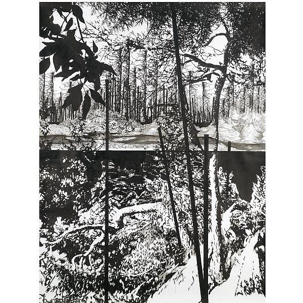 - Yehudit Sasportas , b. 1969 The Love Rain   ink on paper