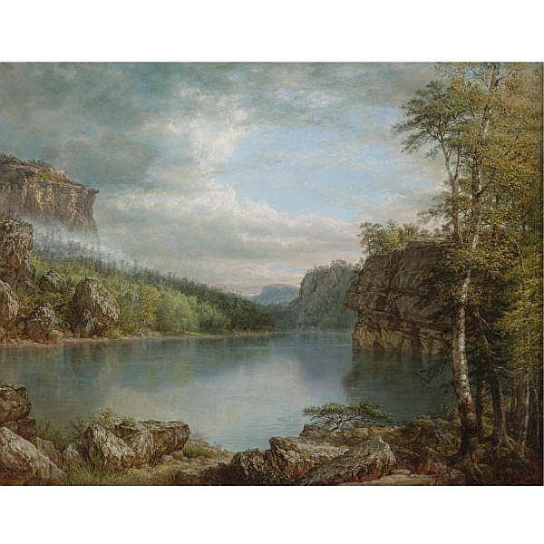 Daniel Huntington 1816-1906 , Lake Mohonk Landscape oil on canvas