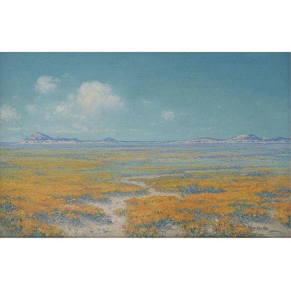 William Louis Otte 1871-1957 , Spring on the Desert, Antelope Valley, California pastel on paper laid down on panel