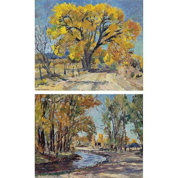 Charles Berninghaus 20th Century , Yellow Leaves and Curving Stream: Two Paintings oil on canvas