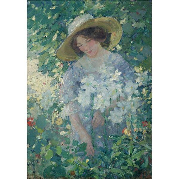 Karl Albert Buehr 1866 - 1952 , Gathering Flowers oil on canvas
