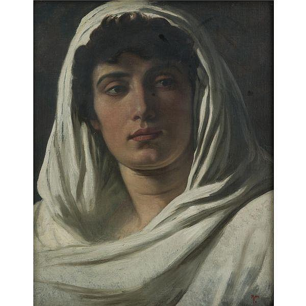 Elihu Vedder 1836-1923 , Woman Draped in White oil on canvas laid down on board