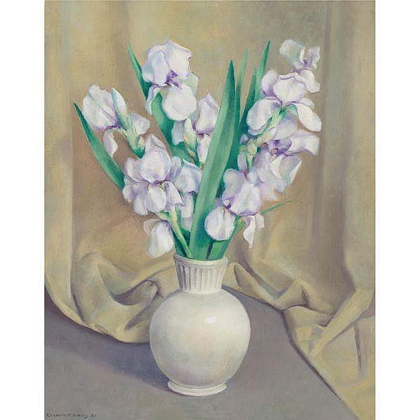 Kenneth Miller Adams 1897-1966 , Irises oil on canvas