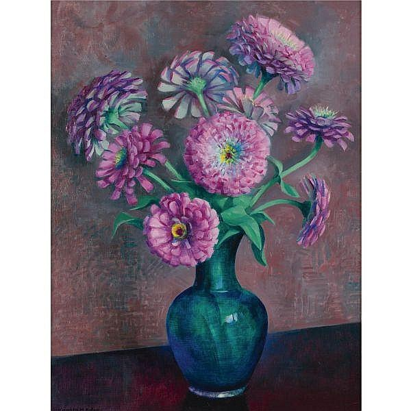 Kenneth Miller Adams 1897-1966 , Purple Zinnias oil on canvas laid down on board
