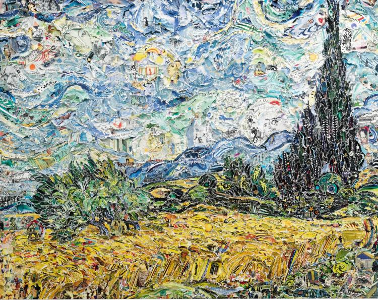 VIK MUNIZ   Wheat Field with Cypresses, after Van Gogh (Pictures of Magazines 2)