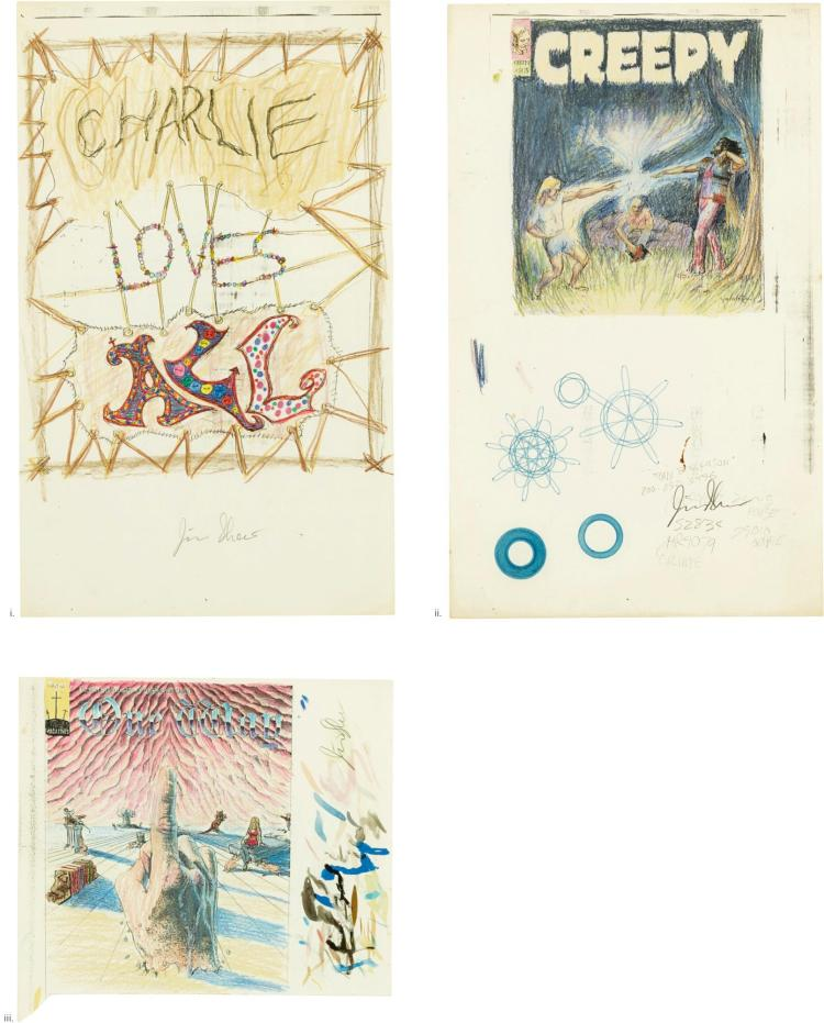 JIM SHAW   i. Study for Charlie Loves All; ii. Study for Creepy; iii. Study for One Way [Three Works]