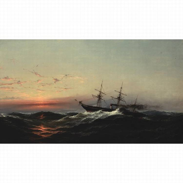 PROPERTY FROM THE CIGNA MUSEUM AND ART COLLECTION JAMES HAMILTON 1819-1878 SUNSET ON A ROUGH SEA