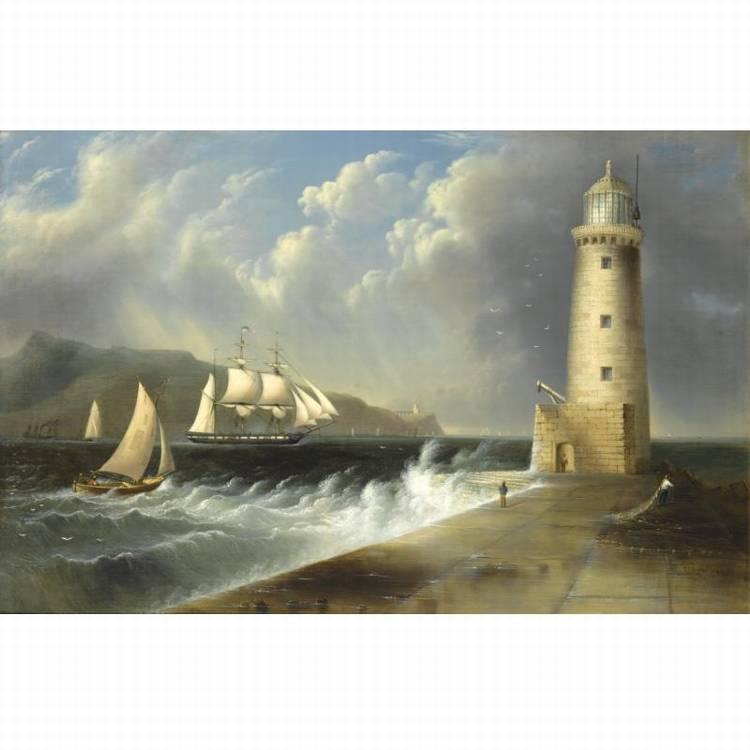 * EDMUND C. COATES 1816-1871 SEASCAPE WITH LIGHTHOUSE