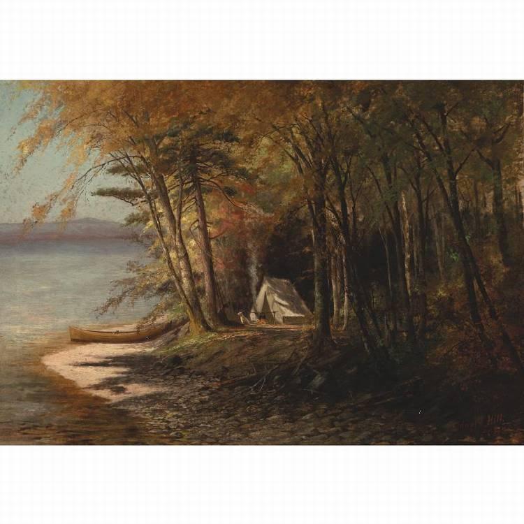 EDWARD HILL 1843-1923 CAMPING ON SARANAC LAKE, ADIRONDACKS