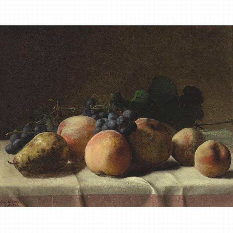 * GEORGE HETZEL 1826-1899 GRAPES, PEACHES AND PEAR ON A TABLE