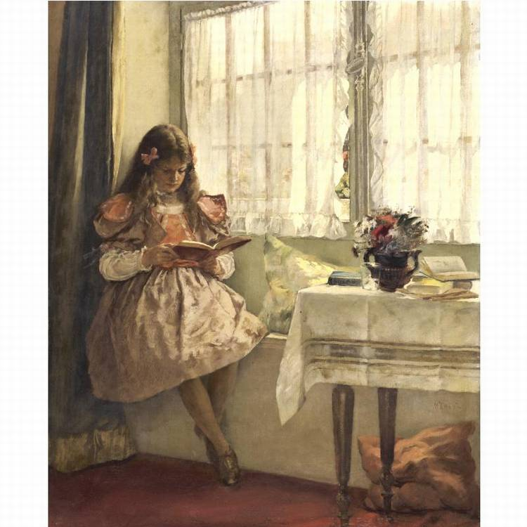 WALTER MACEWEN 1860-1943 YOUNG GIRL READING BY THE WINDOW