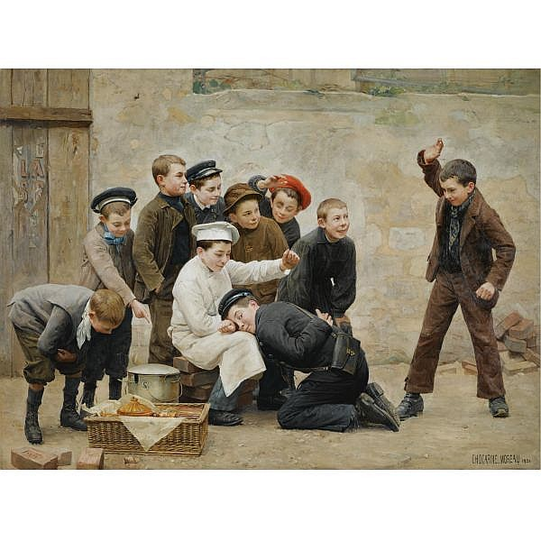 f,w - Paul-Charles Chocarne-Moreau , French 1855-1931 Qui c'etait? (Who Was It?) oil on canvas