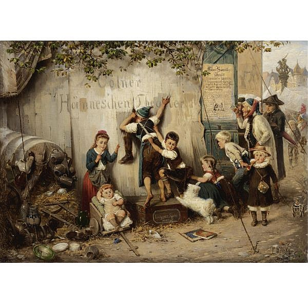 Fritz Beinke , German 1842-1907 at the cologne fair oil on panel
