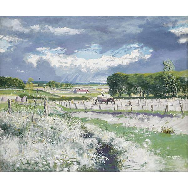 Simon Coleman , 1916-1995 haymaking, ireland oil on canvas