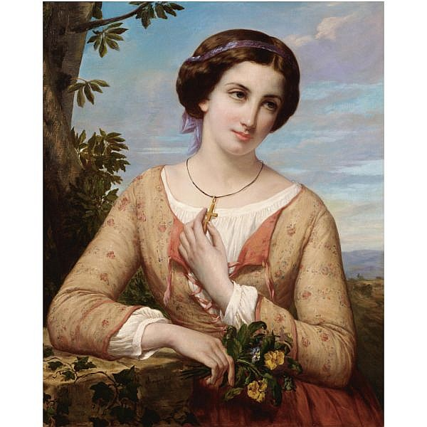 Auguste Charpentier , French 1813-1880 a young girl with a cross oil on canvas
