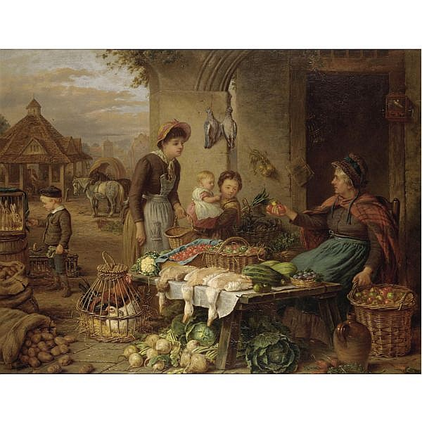 Henry Charles Bryant , 1812-1891 a market stall oil on canvas