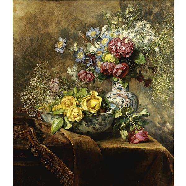 Anna Peters , German 1843-1926 Still Life of Flowers oil on canvas