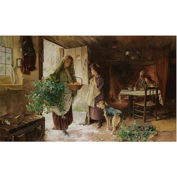 Carlton Alfred Smith R.I., R.B.A., R.O.I. , 1853-1946 christmas eve watercolour