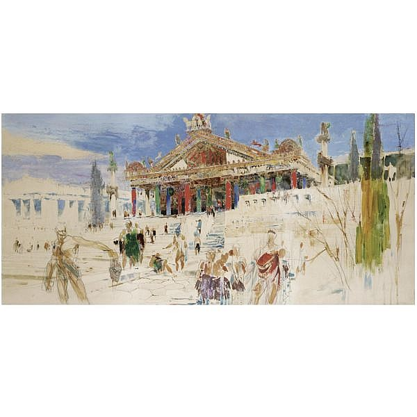 William Walcot R.B.A., R.E. , 1874-1943 the etruscan temple of jupiter capitolinus watercolour and gouache over pencil