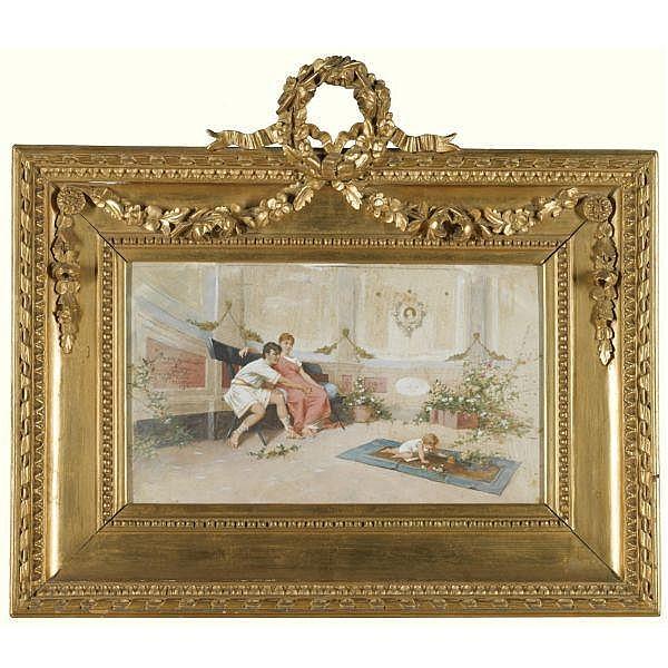 Amos Cassioli , Italian 1832-1891 The Doting Parents oil on silk laid on board