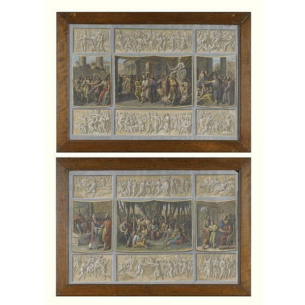 Luigi Ademollo , Milan 1764 - 1849 Florence a pair of designs, each with nine scenes from roman history, the three central scenes surrounded by six grisaille panels both pen and grey ink and brown wash and gouache, heightened with white and gold;