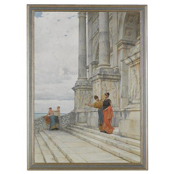 Luigi Bazzani , Italian 1836-1927   Pompeian Scene oil on panel