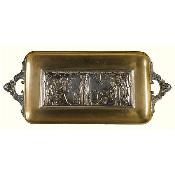 After Ferdinand Levillain (d.1905), A silvered and polished bronze Neo-Grec tray inset with a panel in relief cast by FERDINAND BARBEDIENNE late 19th century