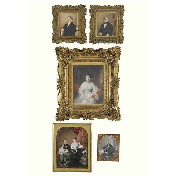 A collection of miniatures , Early 19th century five, most watercolour and bodycolour on ivory, one watercolour with gum arabic on paper