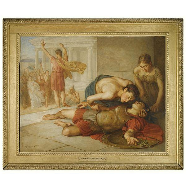 Attributed to Frederick George Cotman , British 1850 - 1920 The Death of Eucles oil on canvas