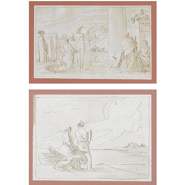 Fortunato Duranti , Montefortino 1787 - 1851 a) figures on a terrace in a fantastical townscape; b) a couple standing at a harbour both pen and brown ink and wash, within brown ink framing lines