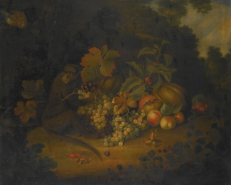 GEORGE WILLIAM SARTORIUS | Still life of fruit with a monkey