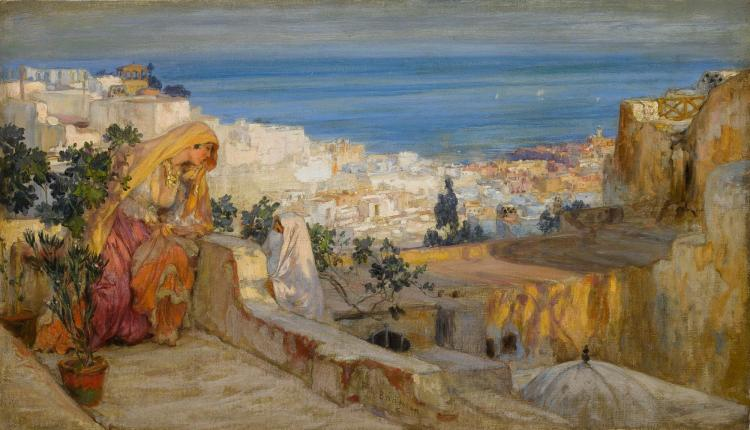 FREDERICK ARTHUR BRIDGMAN | Arab Women on a Rooftop, Algiers Beyond
