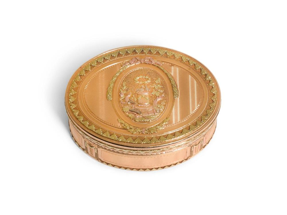 A FOUR-COLOUR GOLD SNUFF BOX, L.P. BARBIER OR N.P. BRICART, PARIS, 1774/5 |